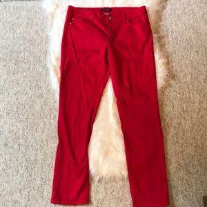 WHBM worn once red slim ankle jean